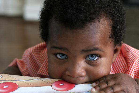 LolliTop: black baby with blue eyes